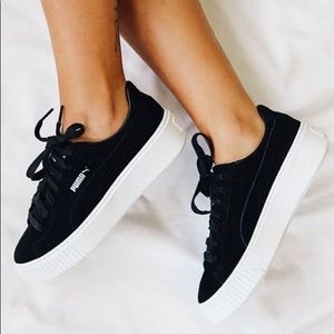 PUMA Black Suede Platform Creepers Sneaker Shoes